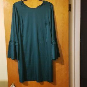 Worthington satin ruffle sleeve dress